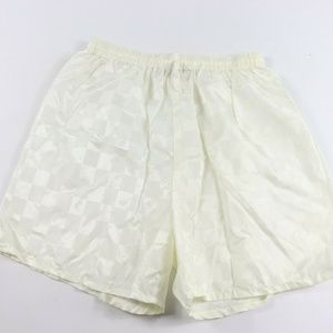 Vintage New Nylon Checkered Soccer Shorts White L